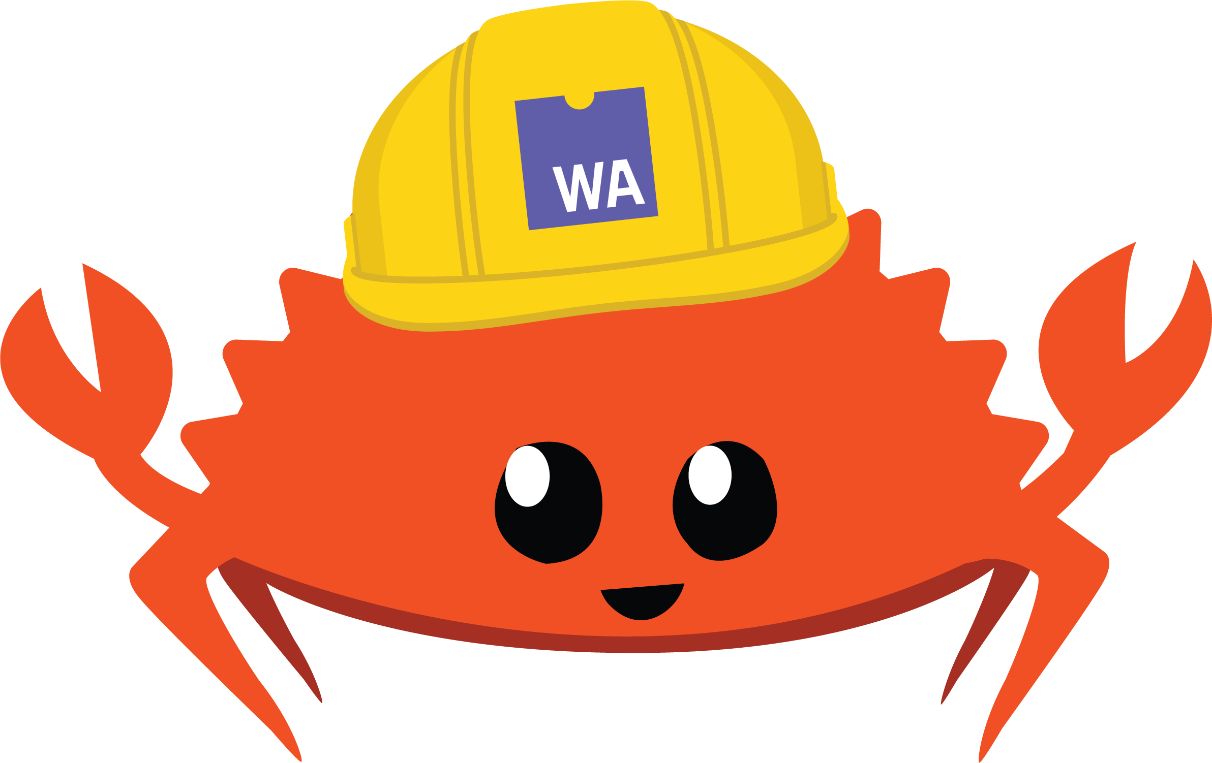 Ferris wearing a construction helmet with a Wasm logo on it.